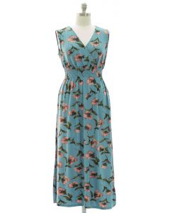 Plus Floral Smock Waist Maxi Dress - Turquoise