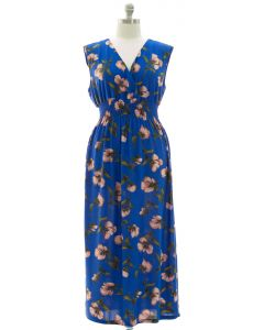 Plus Floral Smock Waist Maxi Dress - Blue