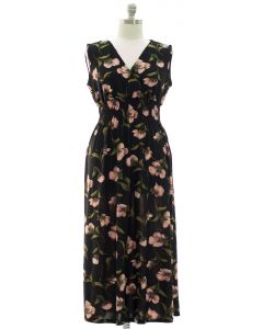 Plus Floral Smock Waist Maxi Dress - Black