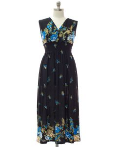 Plus Smock Maxi Dress - Navy Floral