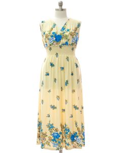 Plus Smock Maxi Dress - Vanilla Floral