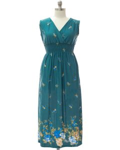 Plus Smock Maxi Dress - Teal Floral