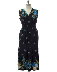 Plus Smock Maxi Dress - Black Floral