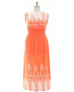 Plus Indian Smock Waist Maxi Dress - Coral