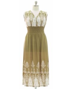 Plus Indian Smock Waist Maxi Dress - Olive