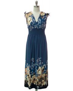 Double V Shoulder Tie Maxi Dress - Steel Blue Border
