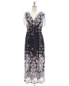 Paisley Double V Surplice Maxi Dress - Black