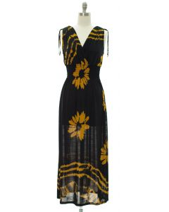 Floral Double V Surplice Maxi Dress - Mustard