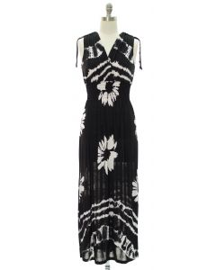 Floral Double V Surplice Maxi Dress - Black