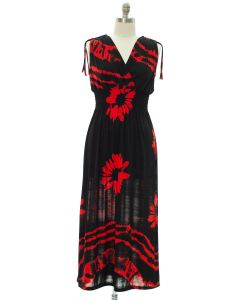 Plus Floral Double V Surplice Maxi Dress - Red