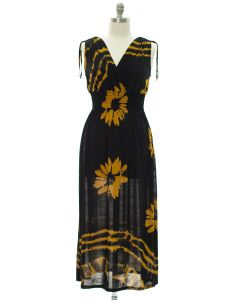 Plus Floral Double V Surplice Maxi Dress - Mustard