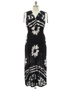 Plus Floral Double V Surplice Maxi Dress - Black
