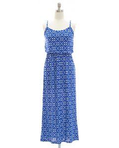 Spaghetti Strap Ditsy Maxi Dress - Blue