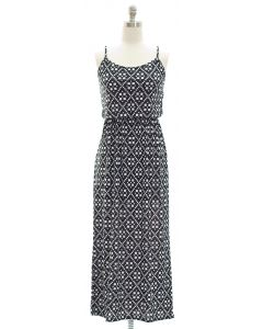 Spaghetti Strap Ditsy Maxi Dress - Black
