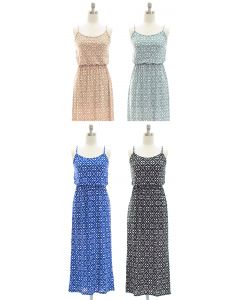 Spaghetti Strap Ditsy Maxi Dress - Assorted
