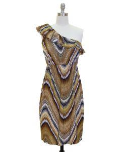 Ruffle One Shoulder Dress - Brown - LAST FINAL SALE