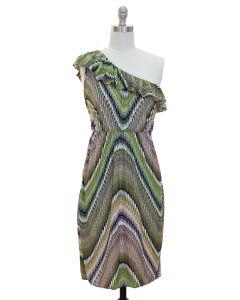 Ruffle One Shoulder Dress - Olive - LAST FINAL SALE