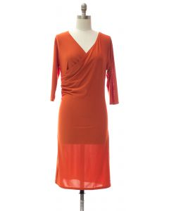 Faux Wrap Dress - Orange
