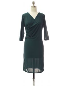 Faux Wrap Dress - Hunter Green