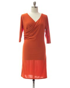 Plus Faux Wrap Dress - Orange