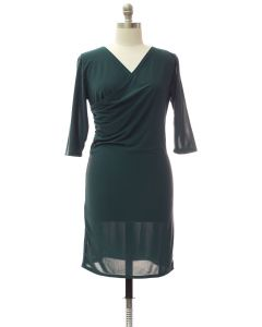Plus Faux Wrap Dress - Hunter Green