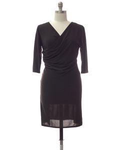 Plus Faux Wrap Dress - Black