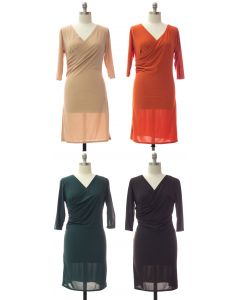 Plus Faux Wrap Dress - Assorted