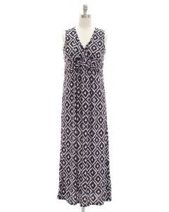Ikat Knot Front Maxi Dress - Black