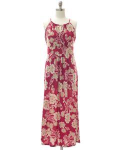 Jewel Neck Maxi Dress - Red