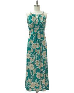 Jewel Neck Maxi Dress - Green