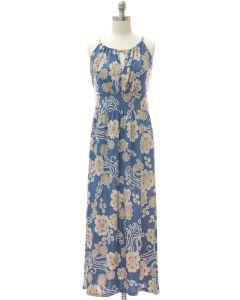Jewel Neck Maxi Dress - Blue