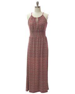 Jewel Spaghetti Strap Maxi Dress - Red