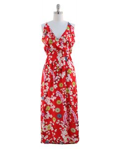 Rayon Ruffled Maxi Dress - Red