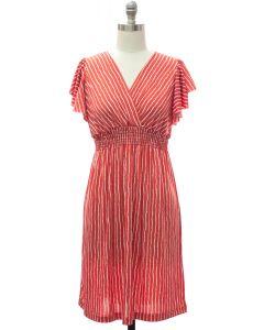 Flutter Sleeve Stripe Midi - Red