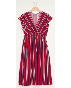 Multi Stripe Flutter Sleeve Midi - Red
