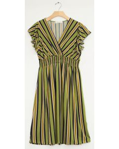 Multi Stripe Flutter Sleeve Midi - Pear Green
