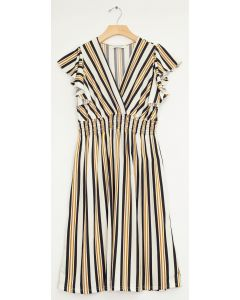 Multi Stripe Flutter Sleeve Midi - White