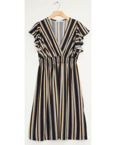 Multi Stripe Flutter Sleeve Midi - Black