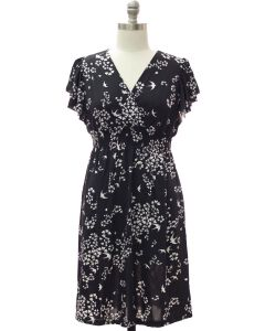 Plus Flutter Sleeve Midi Dress - Black