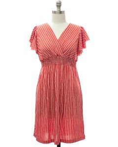 Plus Flutter Sleeve Stripe Midi - Red