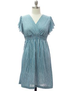 Plus Flutter Sleeve Stripe Midi - Pale Blue