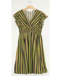Plus Multi Stripe Flutter Sleeve Midi - Pear Green