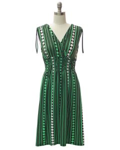 Shoulder Tie Midi Dress - Green