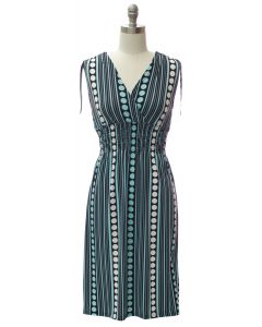 Shoulder Tie Midi Dress - Turquoise