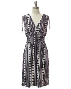 Shoulder Tie Midi Dress - Black