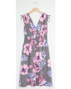 Floral Tie Shoulder Midi Dress - Grey