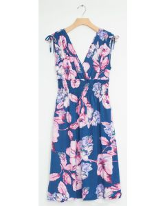 Floral Tie Shoulder Midi Dress - Steel Blue