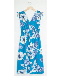 Floral Tie Shoulder Midi Dress - Aqua