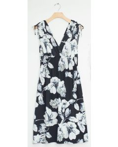 Floral Tie Shoulder Midi Dress - Black
