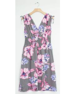 Plus Floral Tie Shoulder Midi Dress - Grey